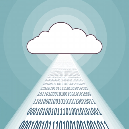 Vector illustration of a cloud network streaming binary codes. Vector