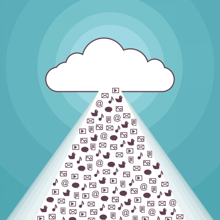 Vector illustration of a cloud network streaming apps and softwares. Vector