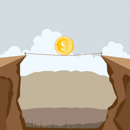 illustration of a dollar coin crossing two cliffs on a tight rope. Stock Vector - 18306995