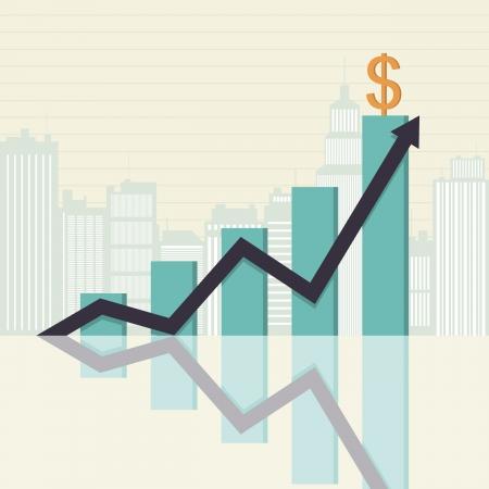 Vector illustratie van een toenemende grafische balk statistieken