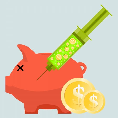Vector illustration of a helpless piggy bank injected with a syringe containing dollar coins