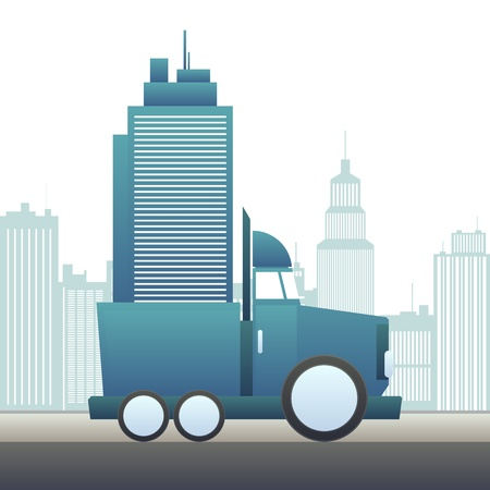 Vector illustration of a large truck moving an office building  Vector