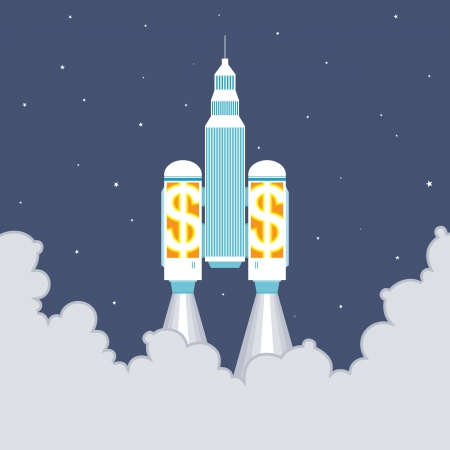 monetary: Vector illustration of an office building taking off with two large dollar rockets. Illustration