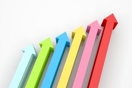 3d render illustration of arrows going up. Stockfoto