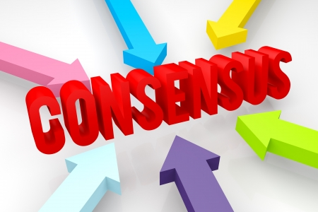 consensus: 3d render illustration of CONSENSUS word with converging colorful arrows
