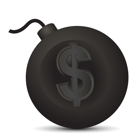 vector bomb: Vector illustration of large round bomb with dollar symbol. Illustration