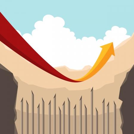 pull up: Illustrazione di una freccia rossa � riuscito a tirare fino all'ultimo minuto prima di scendere a una fossa piena di pali