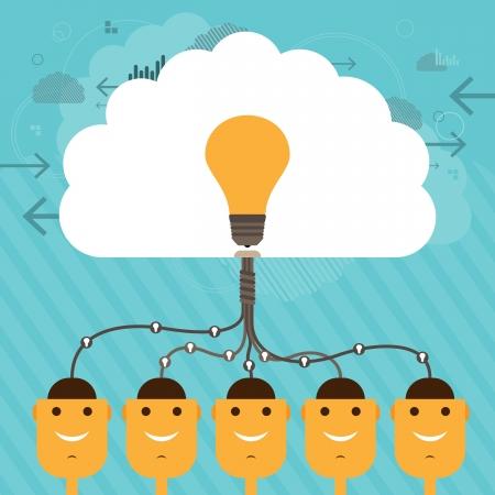 cooperativismo: Ilustración de las figuras de la cabeza humana conectada a un gran cerebro colectivo de la idea