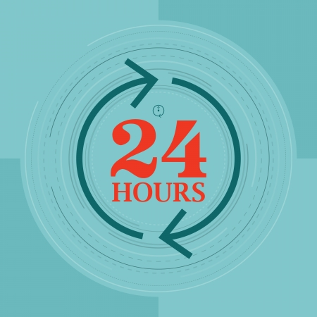 duration: Vector illustration of 24 hours symbol concept