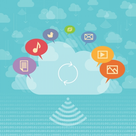 cloud storage: Vector illustration of cloud sharing concept with media and cloud storage symbols