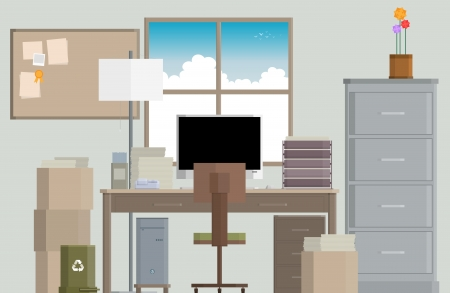 office cabinet: Vector illustration of a crowded work desk