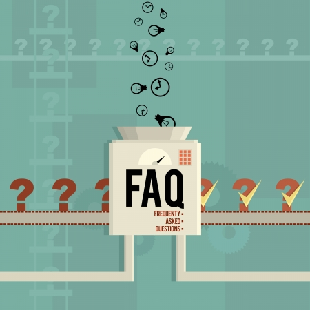 Vector illustration of a FAQ machine answering frequently asked questions  Ilustração