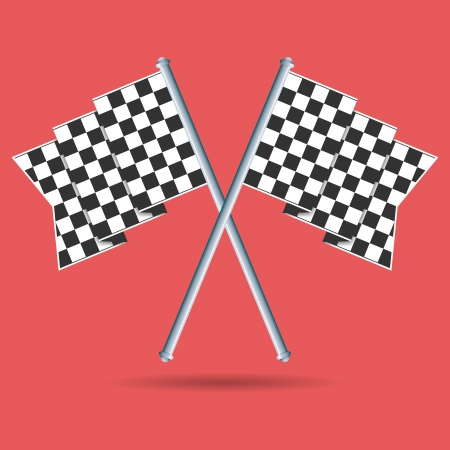 racing checkered flag crossed: Vector illustration of two race flags crossed. Illustration