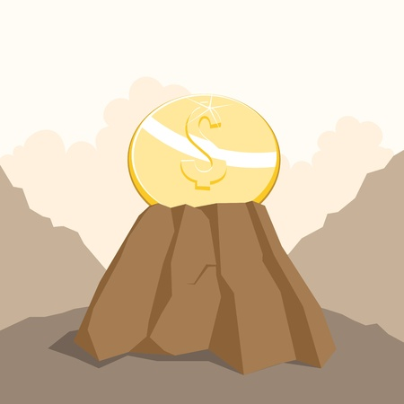 adamant: Vector illustration of a gold dollar coin embedded on a sturdy rock  Illustration