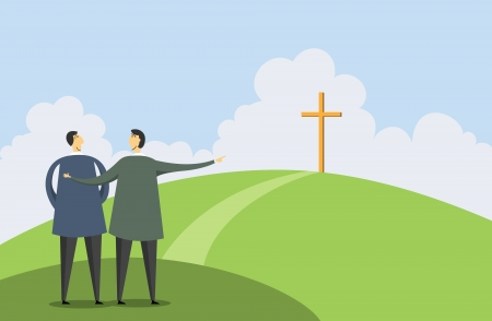 evangelism: Vector illustration of one man pointing a cross to another man