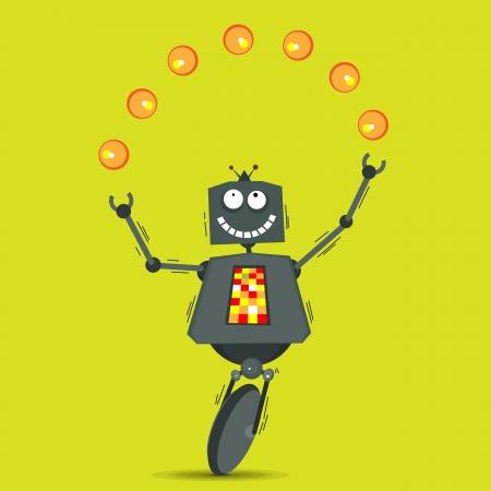 robot cartoon: Vector illustration of cartoon robot juggling balls  Illustration