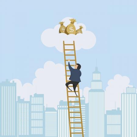 Vector illustratie van een man schalen van een ladder naar een wolk met geldzakken