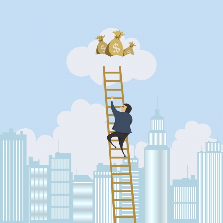 scaling: Vector illustration of a man scaling a ladder to a cloud with money bags