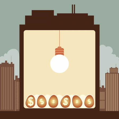 illustration of the inside of the building, a bright lightbulb nurturing dollar eggs. Stock Vector - 19587309