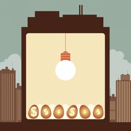 nurturing: illustration of the inside of the building, a bright lightbulb nurturing dollar eggs.