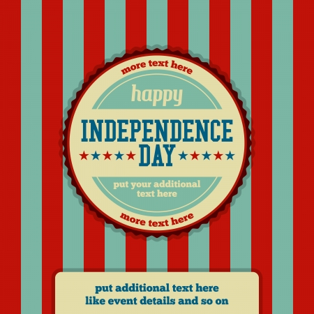 independence day: Vector illustration of Independence Day event stamp background. Illustration