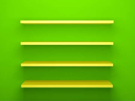 3d render illustration of yellow shelves on green-colored wall. illustration
