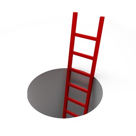 entrapment: 3d render illustration of red ladder inside a hole