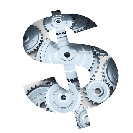 exposed: 3d render illustration of cogs and gears exposed from dollar symbol cut out