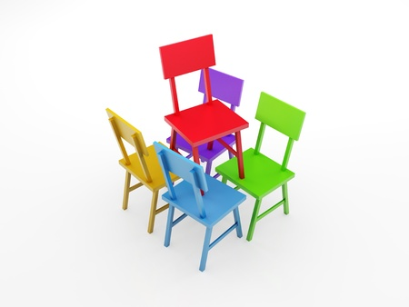 supporting: 3d render illustration of four chairs supporting one red chair  Stock Photo