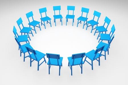 3D render illustratie van blauwe stoelen vormen een cirkel