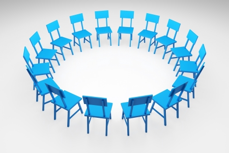 meetup: 3d render illustration of blue chairs forming a circle