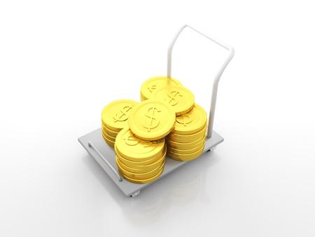 gigantesque: 3d render illustration de panier plein de gigantesques pi�ces de un dollar d'or