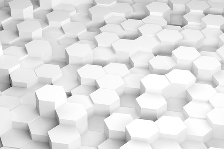 3d render illustration of white hexagons of various height