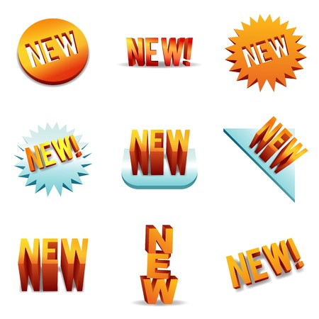 catchy: 3D-styled brand new item labels and backgrounds