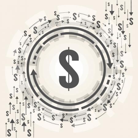 Ilustración del vector del símbolo del dólar en medio de dólares que fluyen dando vueltas a su alrededor Ilustración de vector