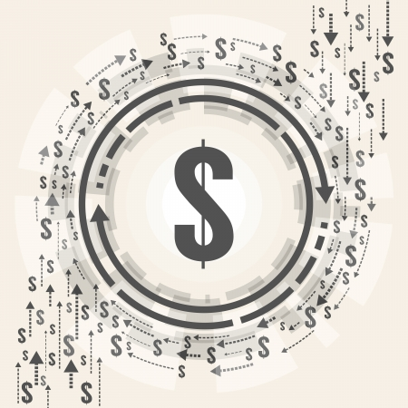 circling: Vector illustration of dollar symbol in the middle of flowing dollars circling around it