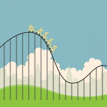 Vector illustration of several currency signs on a roller coaster