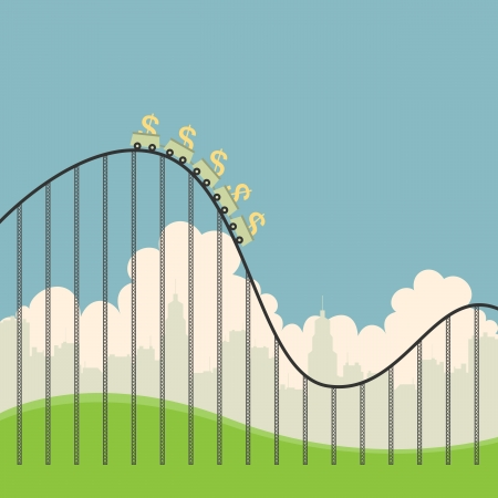 Vector illustration of several dollar currency signs on a roller coaster  Ilustração