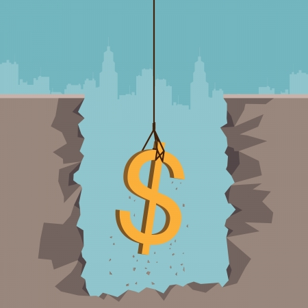 pull up: Vector illustration of a rope pulling out a dollar currency sign from the earth
