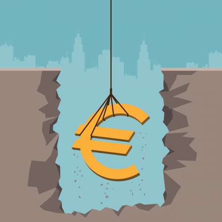 subsidy: Vector illustration of a rope pulling up an Euro currency sign from the earth