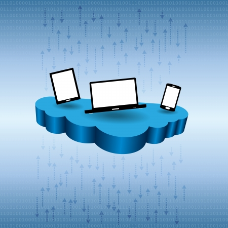 Vector illustration of several devices on cloud network. Stock Vector - 21266103