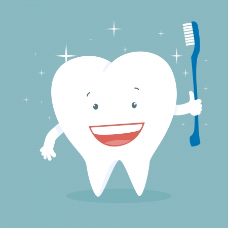 Vector illustration of a health smiling cartoon tooth holding a toothbrush. Vector