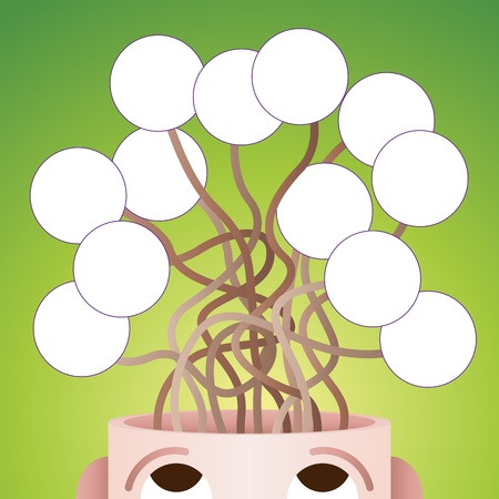 Vector illustration of many vaus abstract thoughts from a man's head. Stock Vector - 21266240