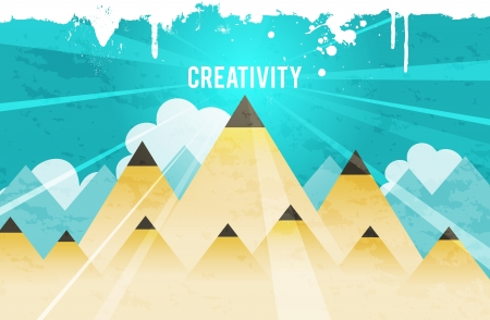 mountainous: Vector illustration of creativity concept represented by pencil mountains.