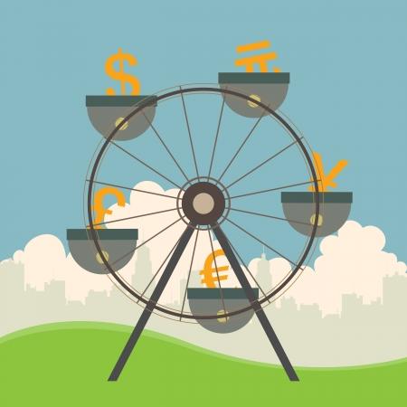 Vector illustratie van de monetaire en valuta-concept met reuzenrad.