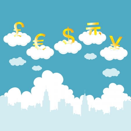 renminbi: Vector illustration of currencies on clouds illustrating volatility of money. Illustration