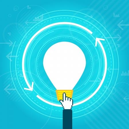 haltbarkeit: Vektor-Illustration der gro�en Gl�hbirne und digitale Hand, die Idee Haltbarkeit Konzept.