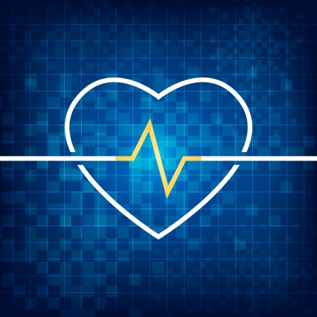 cardiograph: Vector illustration of heart health concept with cardiograph and heart shape.