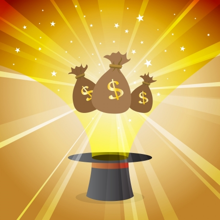 miraculous: Vector illustration of money magic hat financial concept. Illustration