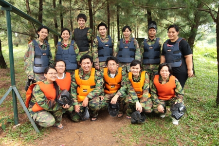 military training: SENTUL, INDONESIA, 17th November 2010. Paintball players posing before playing games. Editorial